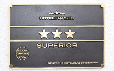 """HOTEL ERHÄLT """"3 STERNE SUPERIOR"""" VON DER DEHOGA"""